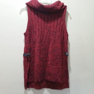 New Directions Red Combo Hi/Lo Sweater/Slit Sides
